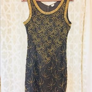 Vintage black/gold lace & bead dress